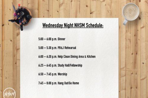 NHSM Wednesday Night Schedule