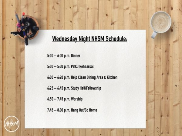 NHSM Wednesday Night Schedule
