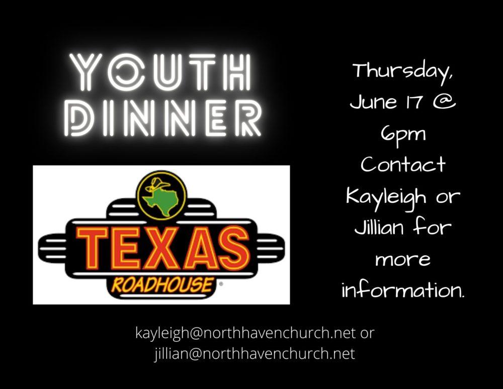 Youth Dinner, Thursday, June 17th
